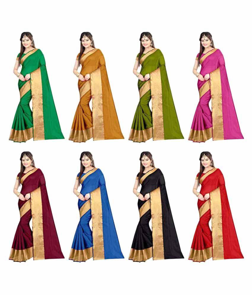 Gazal Fashions Multicoloured Cotton Saree Combos