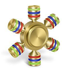 latest Brass Golden Tri-Spinner Fidget Spinner Focus Toy Stress Reducer for Kid and Adult Premium Bearing]Easy Flick, Spin single/both Hands Finger Prime Figit Toys Perfect For ADHD, Anxiety, Autism