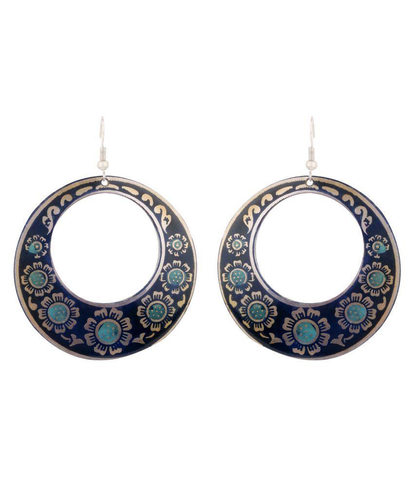 IZAPO CROCUS Round Blue Metallic Earrings For Women
