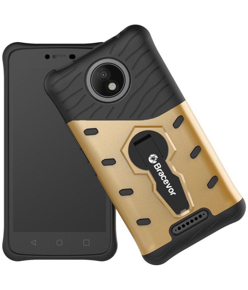 Moto C Plus Cases with Stands Bracevor - Golden