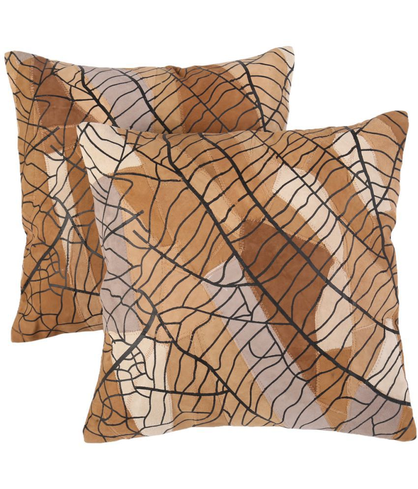 Rajrang Set of 2 Leather Cushion Covers 40X40 cm (16X16)