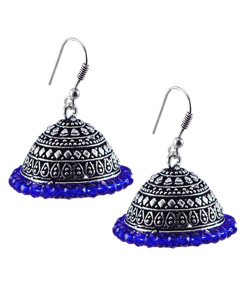 Silvesto India Blue Crystal Jhumki PG-129991