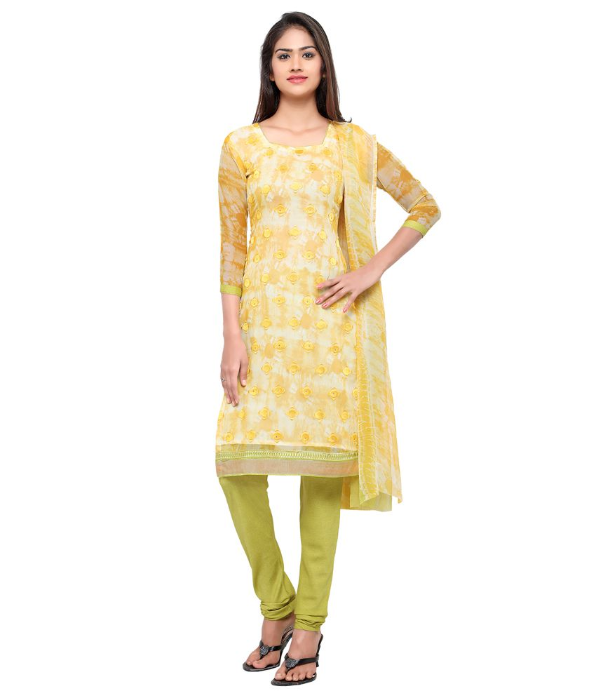 JK apparels Yellow Georgette Dress Material