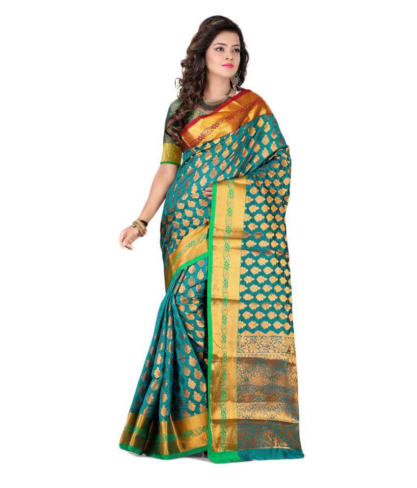 SILK ZONE Green Banarasi Silk Saree