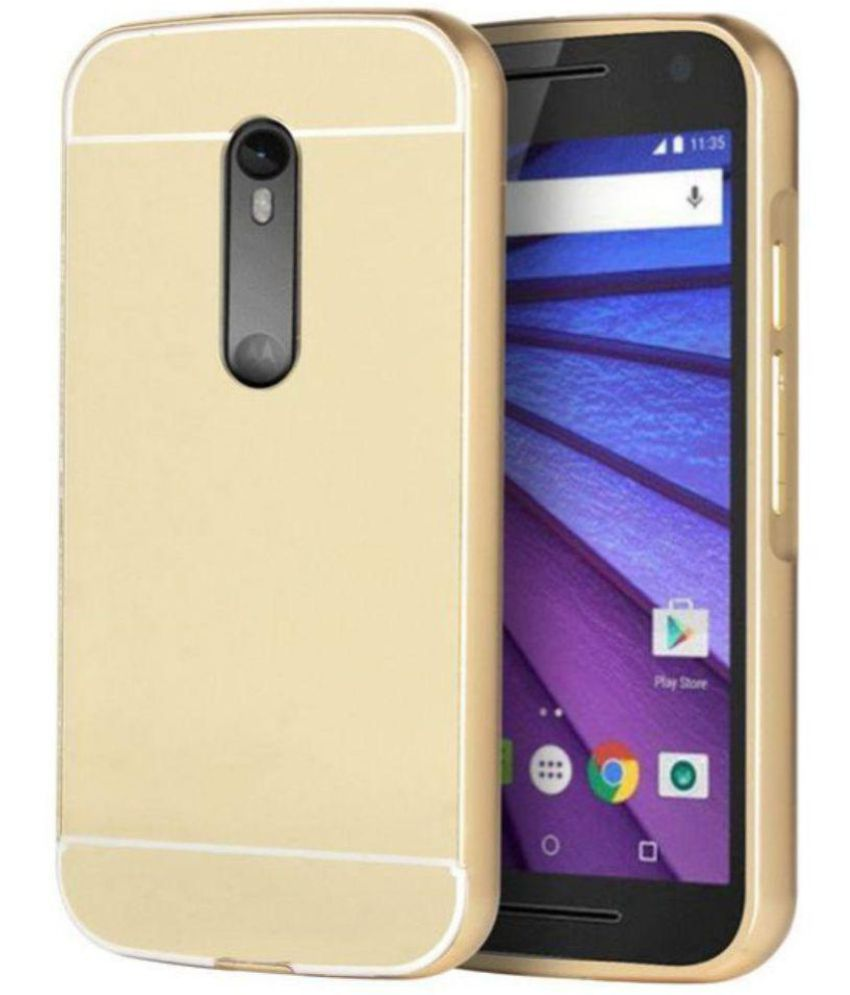 Moto G3 Mirror Back Covers Bright traders - Golden