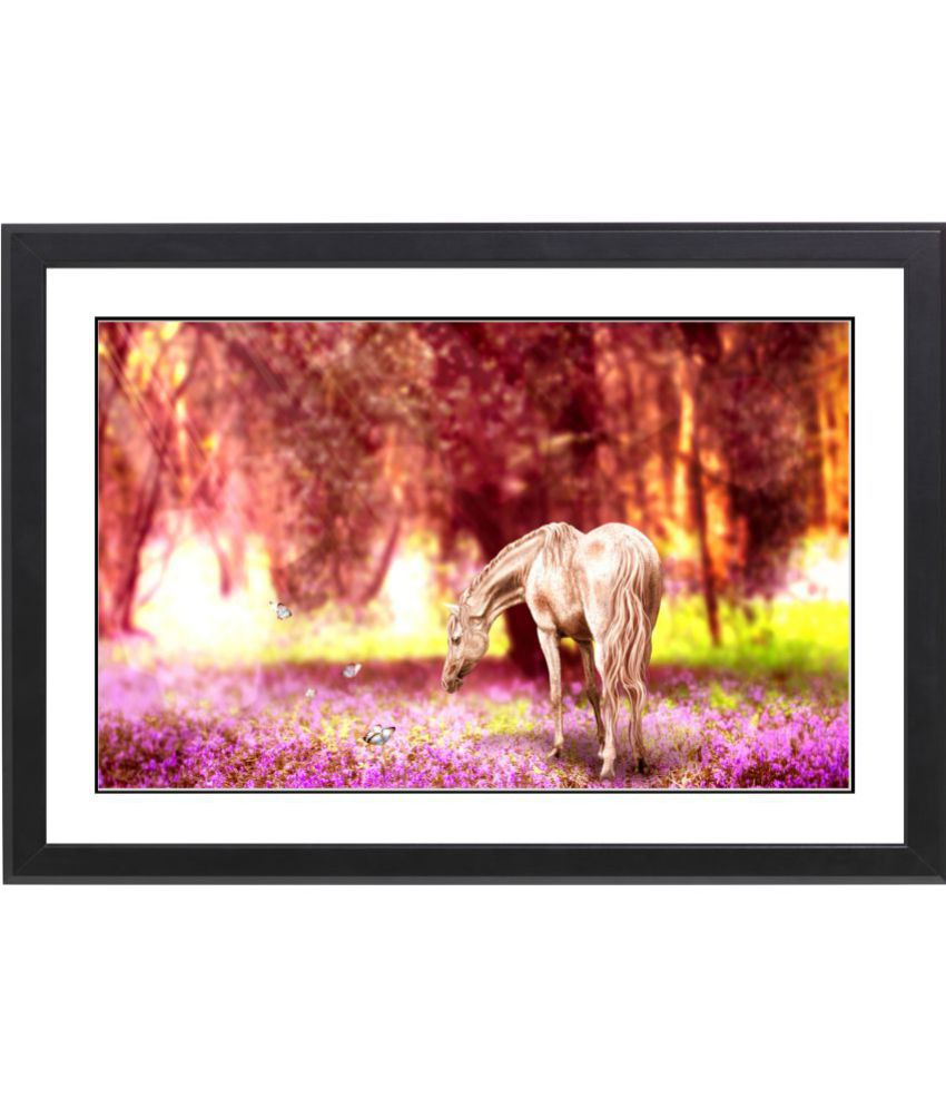 CRAFTSFEST VAASTU HORSE MDF Painting With Frame- (30cmX20cmX1.5cm)