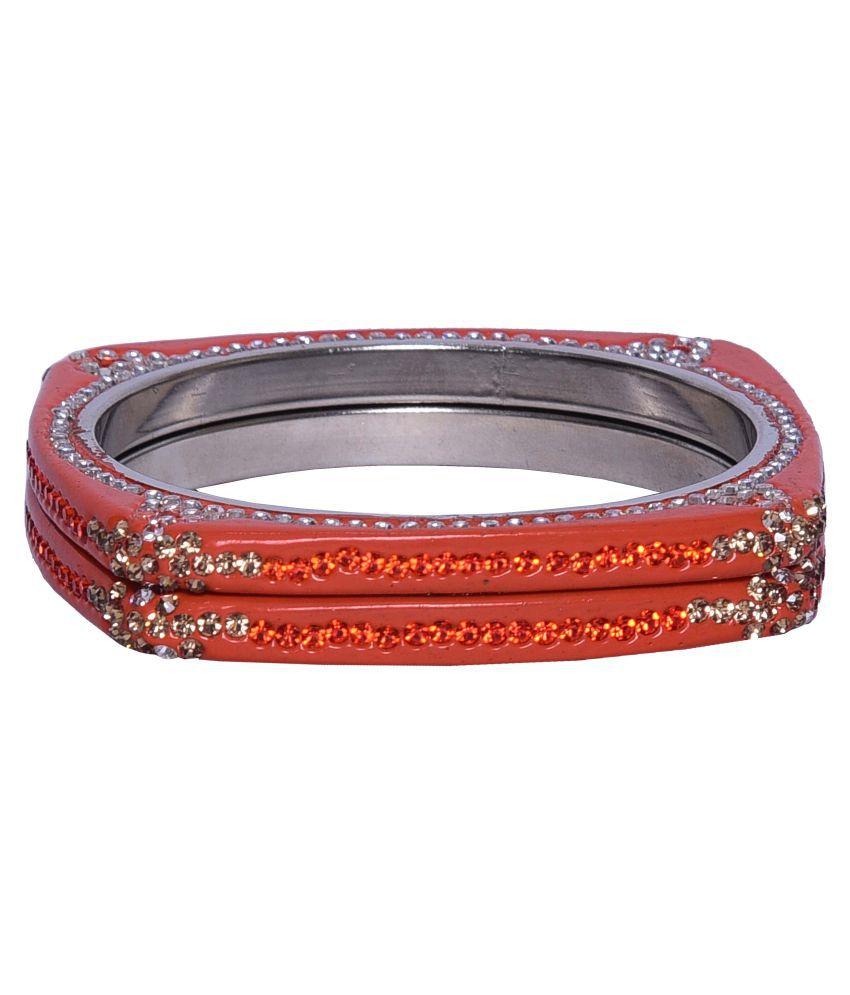 Sukriti Exclusive Designer Orange Lac Bracelet Bangle set for Women