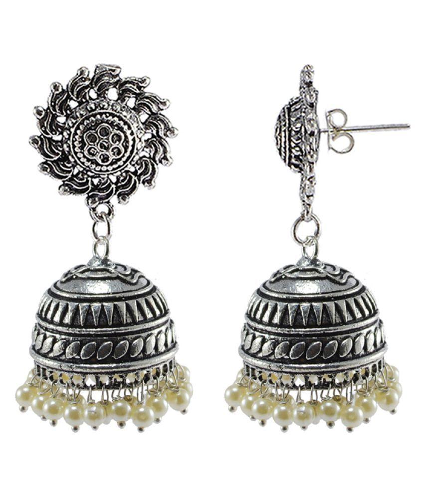 Surya Studs Jhumki-PEARL JHUMKA Earrings-Handmade Artisan Jewellelry By Silvesto India PG-108500