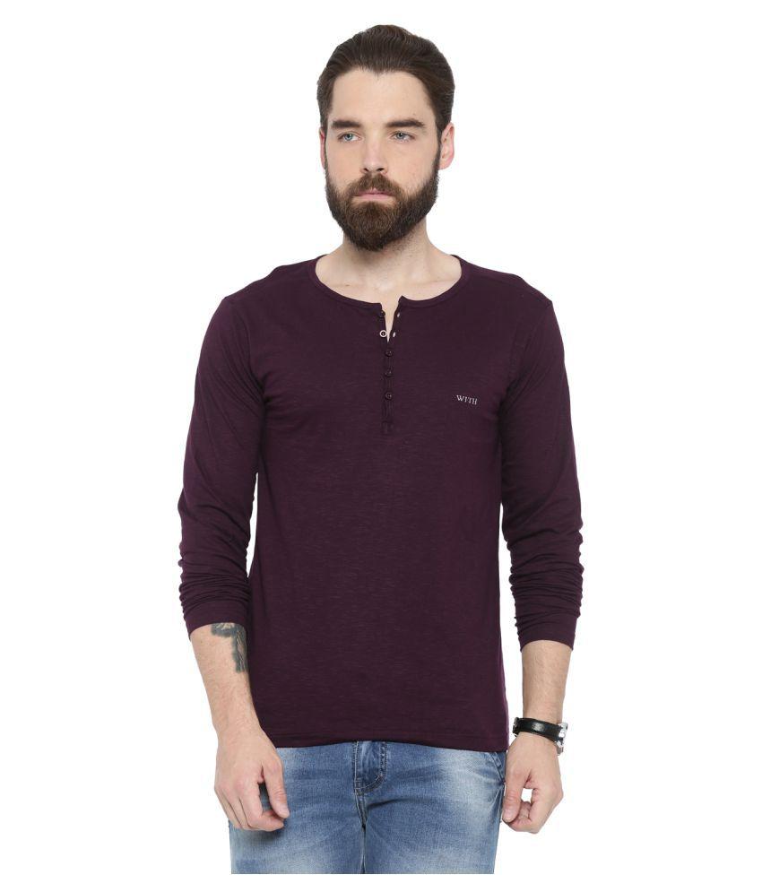 Showoff Purple Henley T-Shirt