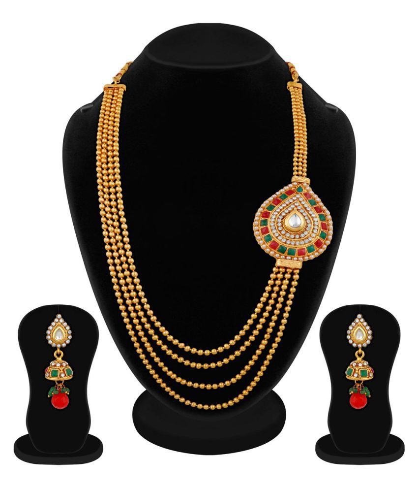 Apara Multicolour Golden Multistrand Mala Necklace For Women/ Girls