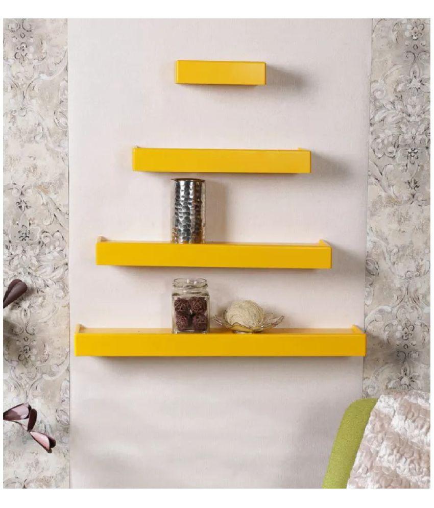 Onlineshoppee Floating Shelf/ Wall Shelf / Storage Shelf/ Decoration Shelf Yellow - Pack of 4