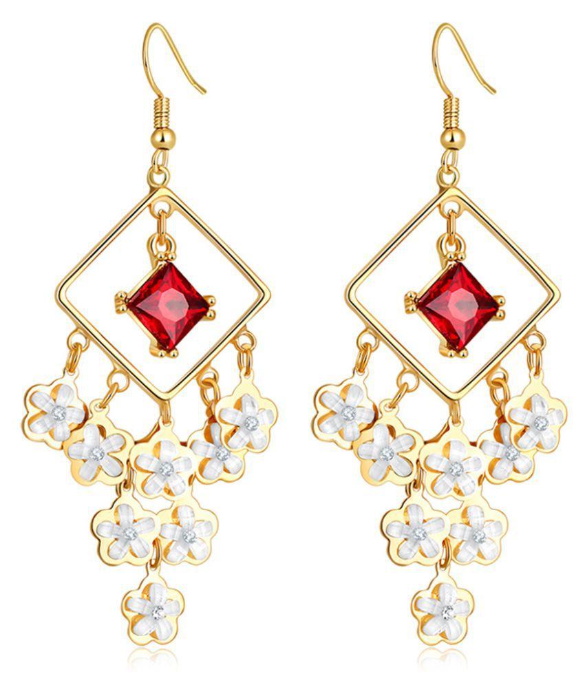 Jewels Galaxy Swarovski Elements Exclusive Chandelier Splendid Designed Earrings For Women/Girls
