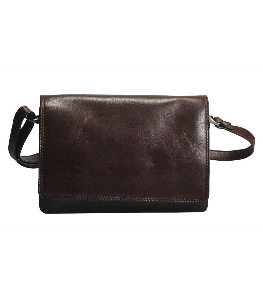 Vilenca Holland Brown Pure Leather Shoulder Bag