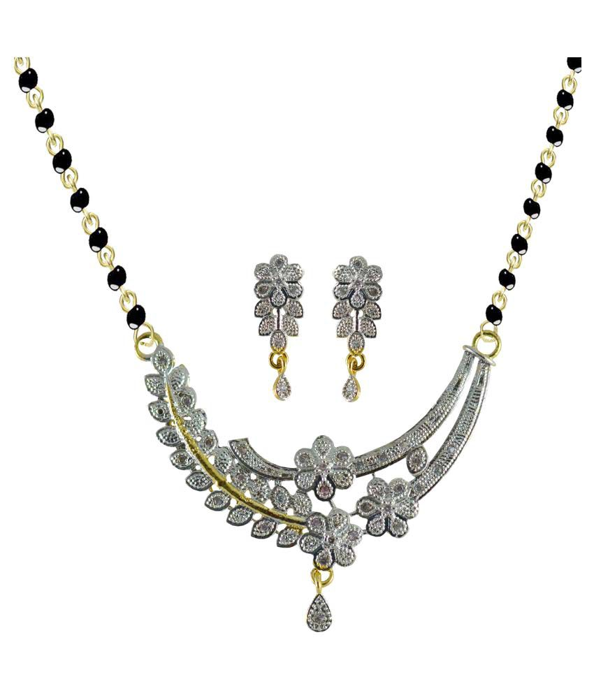 American Diamond Mangalsutra Pendant Set For Daily Wear