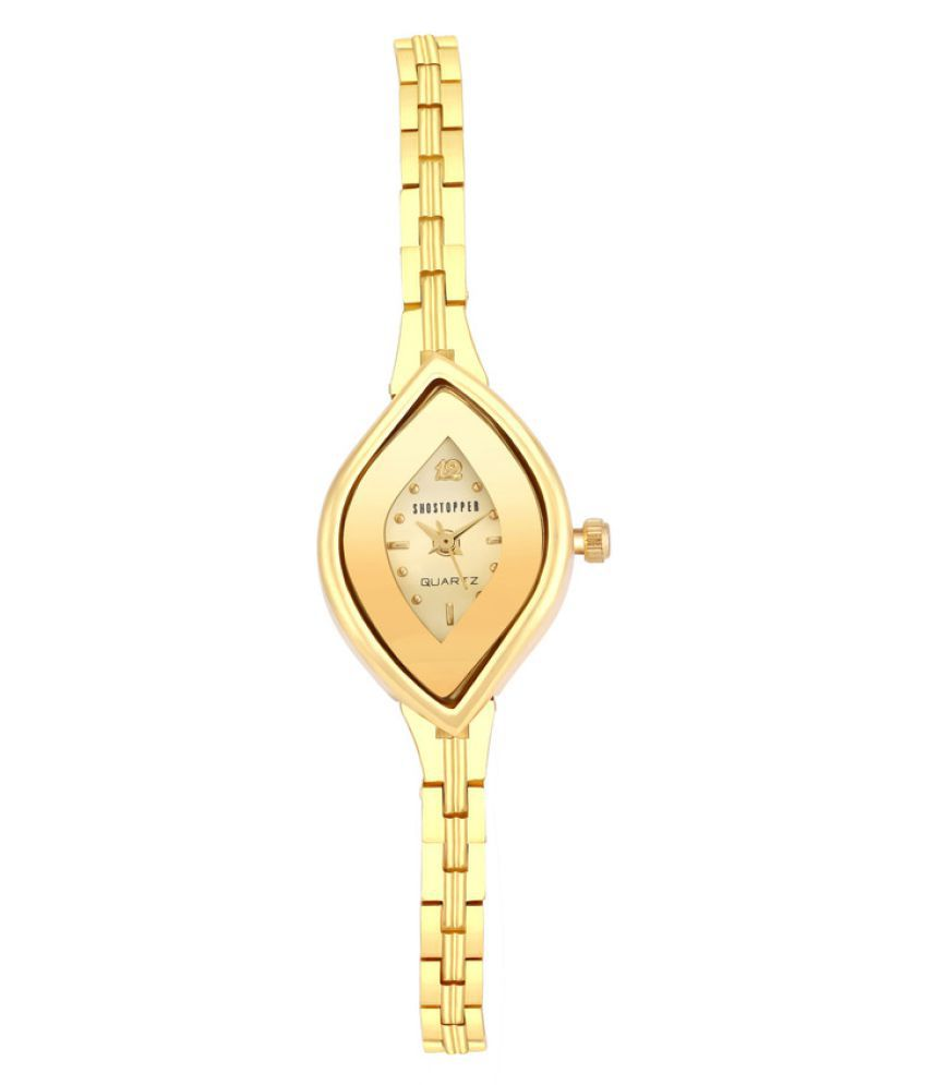 Shostopper Designer Gold Dial Analogue Watch for Women - SJ62069WW + Free Pair of Earrings of Worth INR.199/-