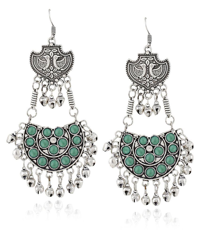 Aradhya Designer Tribal Dangler Long Oxidized Afgani Earrings for Women and Girls