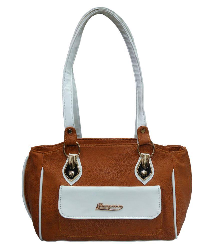 Atorakushon Golden Brown P.U. Shoulder Bag
