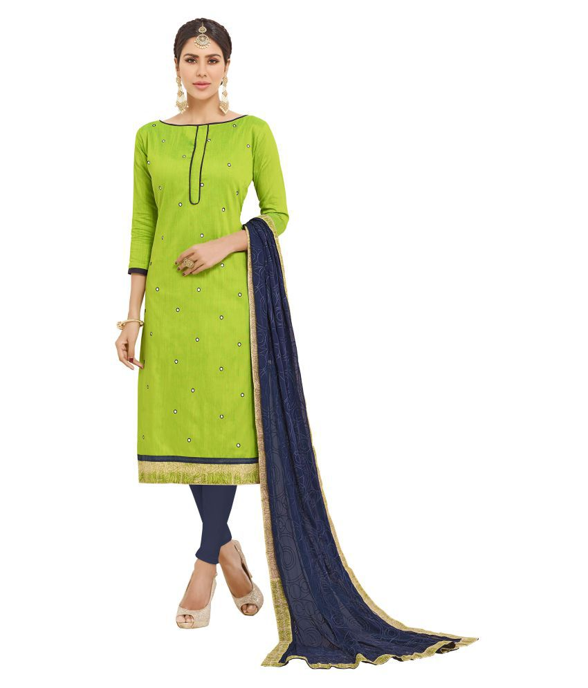 Maroosh Green Cotton Straight Semi-Stitched Suit