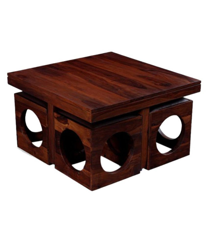 Ethnic india art coffee table with 4 stool in teak color buy ethnic india art coffee table geotapseo Gallery