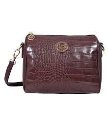 Lino Perros Brown Faux Leather Sling Bag - 6917529665802356281