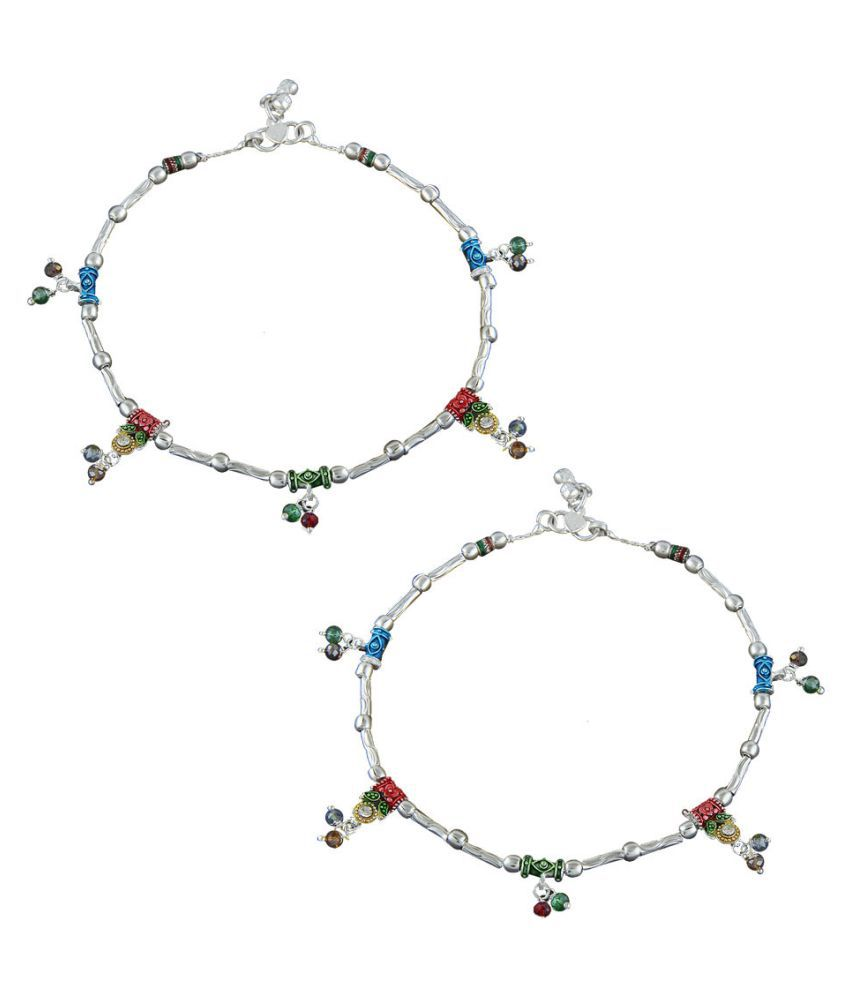 Anuradha Art Silver Colour Wonderful Multi Colour Droplet Traditional Anklet/Payal For Women/Girls