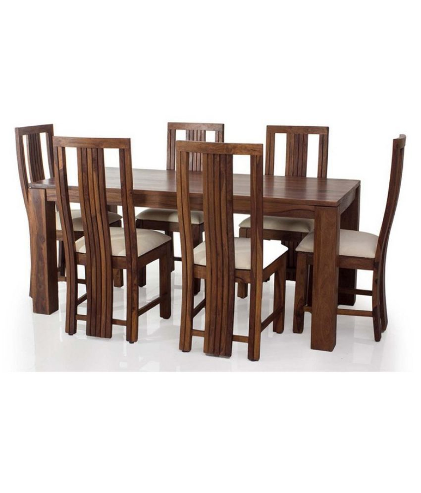 67f26f6574 Della Solidwood Six Seater Dining Set 1+6 in Brown Colour - Buy ...