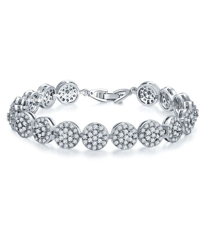 Jewels Galaxy Swarovski Elements Limited Edition Sparkling Rhodium Plated Floral Single Strand Bracelet For Women/Girls