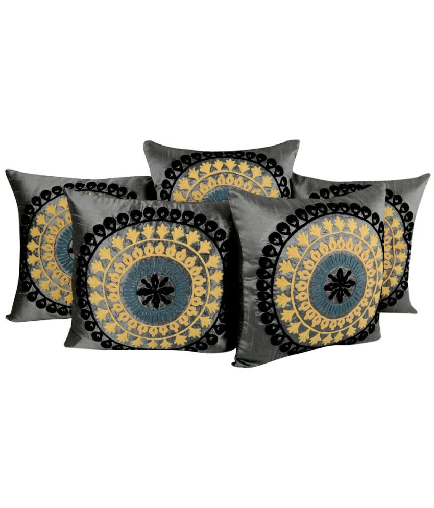 Rajrang Set of 5 Poly Dupion Cushion Covers 40X40 cm (16X16)