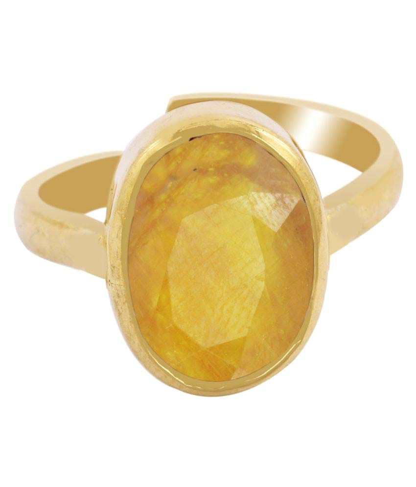 Avaatar Panch Dhatu Yellow Gold Sapphire Ring