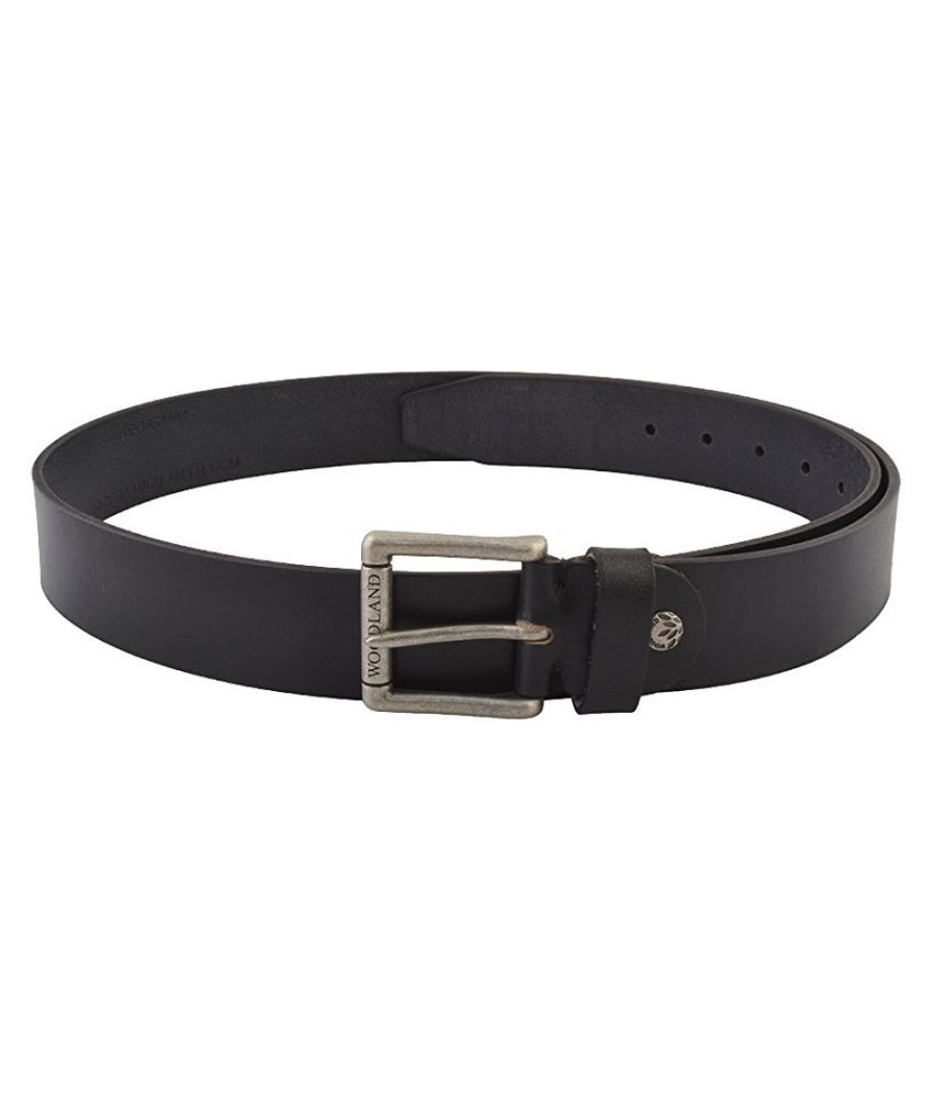 Woodland Black Leather Casual Belts