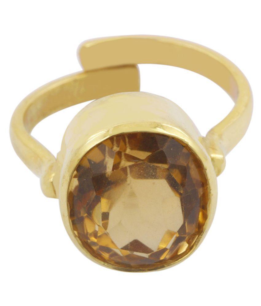 Avaatar Panch Dhatu Yellow Gold Sapphire Ring