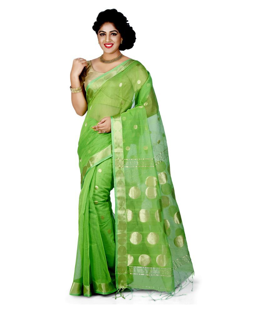 Wooden Tant Green Art Silk Saree