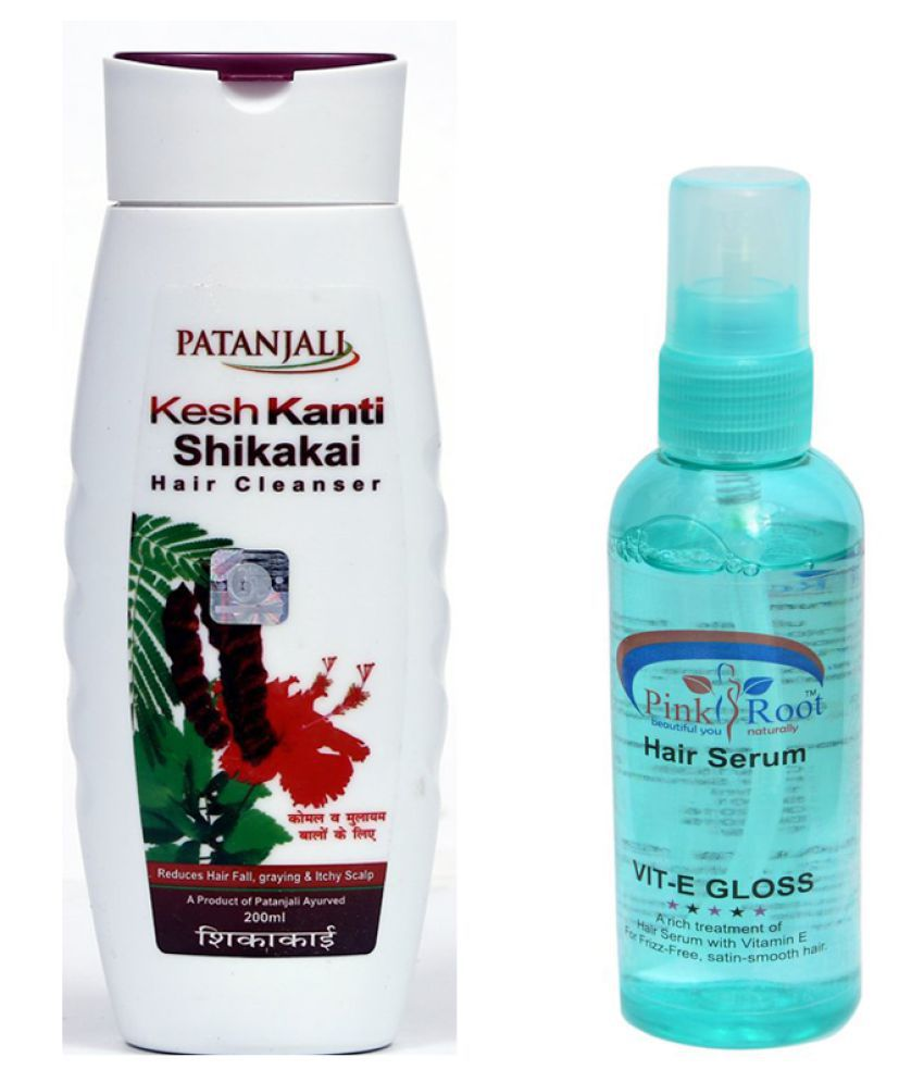 Patanjali KeshKanti Shikakai Shampoo 200ml and Pink Root Hair Serum 100ml Pack of 2