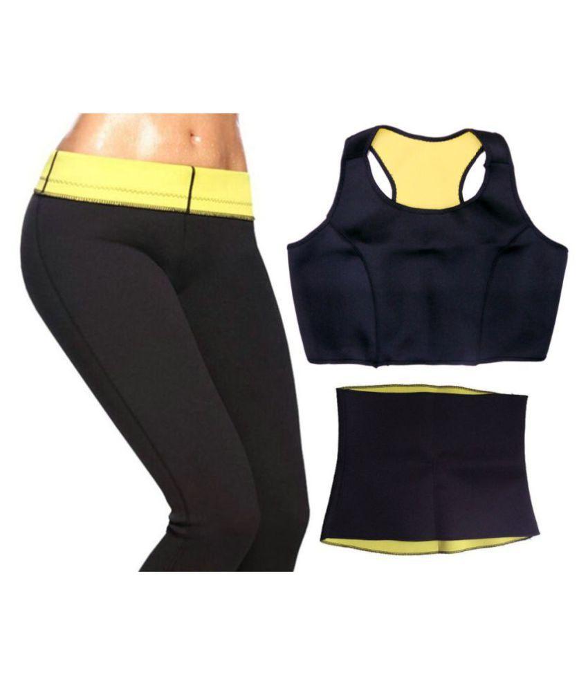 THE ROYAL CROWN Hot Sweat Slim Belt Fat Cutter & Fat Burner Complete Set Combo of Belt, Bra & Pant Size_XL