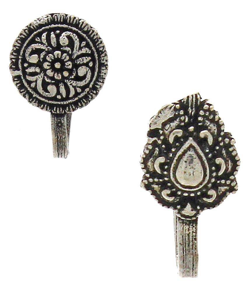 Anuradha Art Presenting Very Classy Delicate Silver Finish Wonderful Two Nose Ring/ Pin For Women/Girls