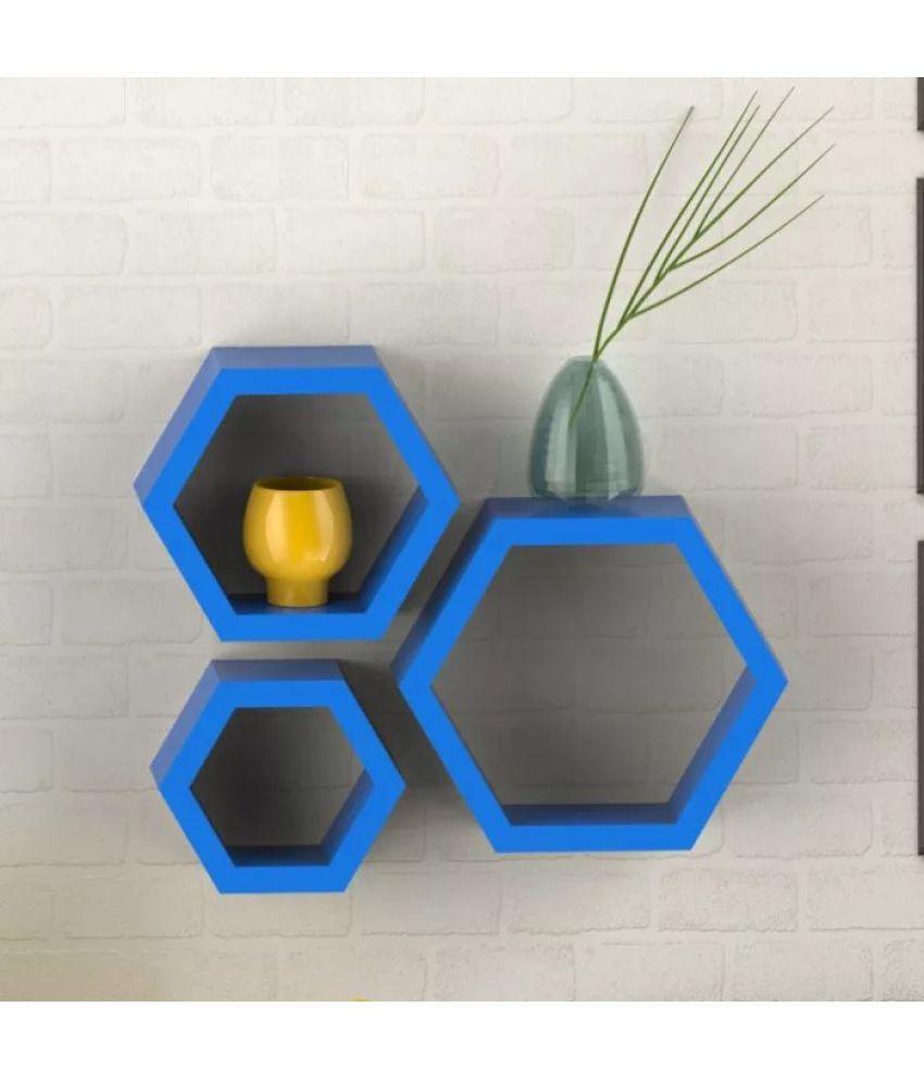 Onlineshoppee Floating Shelf/ Wall Shelf / Storage Shelf/ Decoration Shelf Blue - Pack of 3