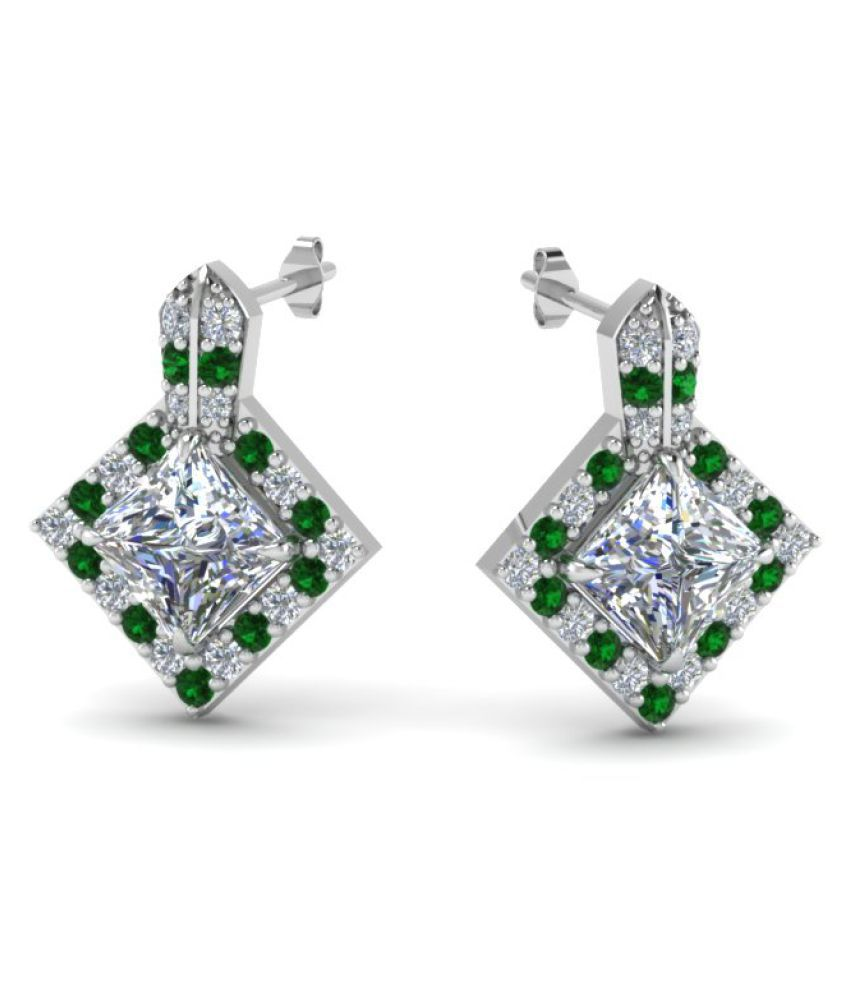 Naitik Jewels 92.5 Silver Cubic zirconia Studs