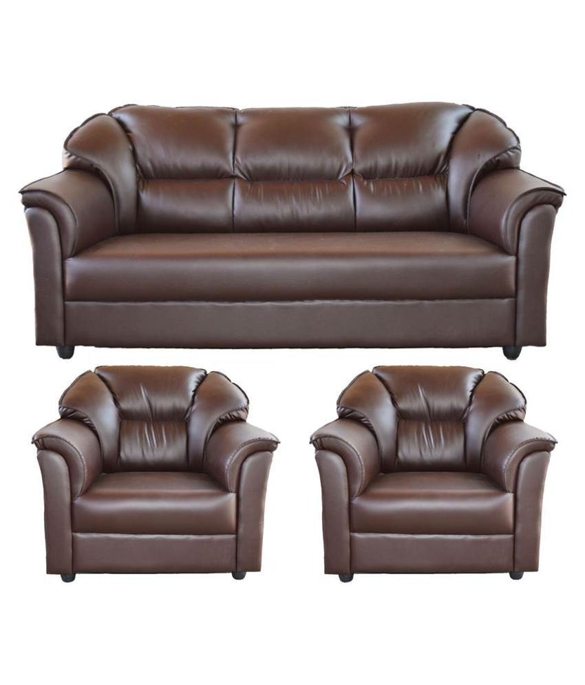 Westido Manhattan 3 1 1 Sofa Set In Brown Leatherette Buy Westido