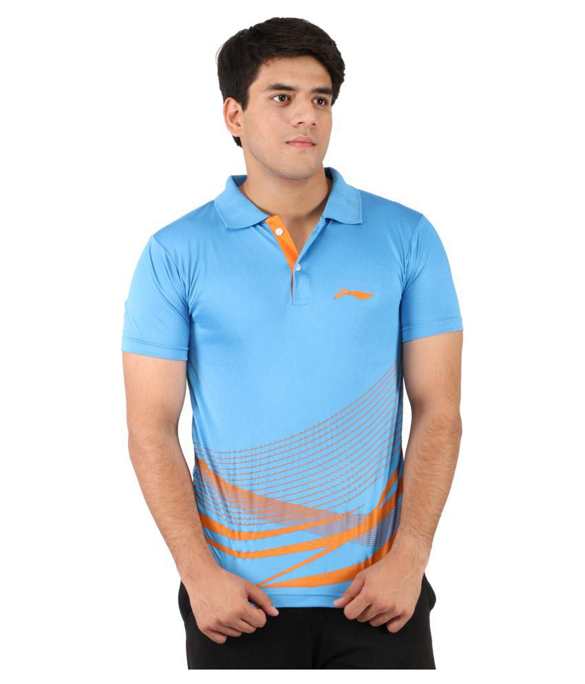 Li-Ning Blue Polyester Polo T-Shirt