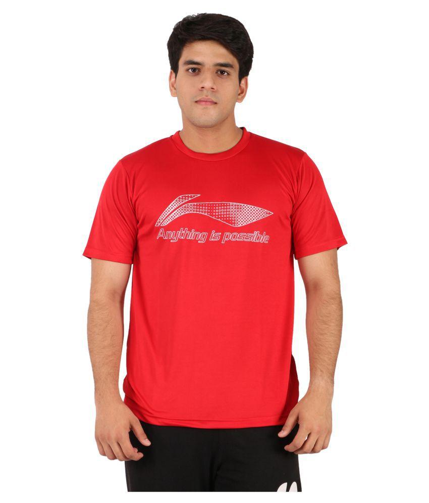Li-Ning Red Polyester T-Shirt