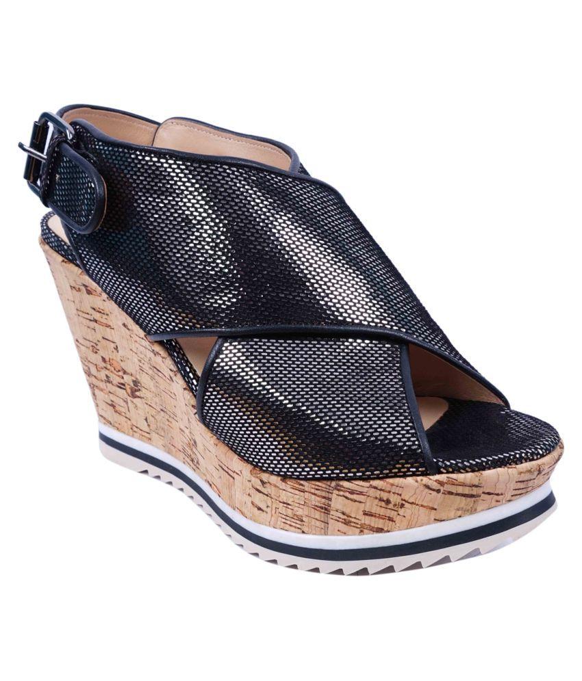 SWANSIND Black Wedges Heels
