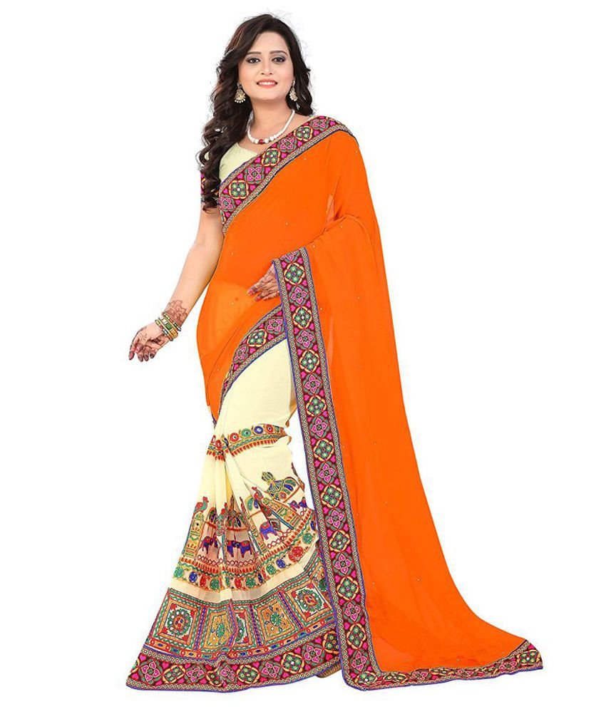 OMSAI FASHION Orange Georgette Saree