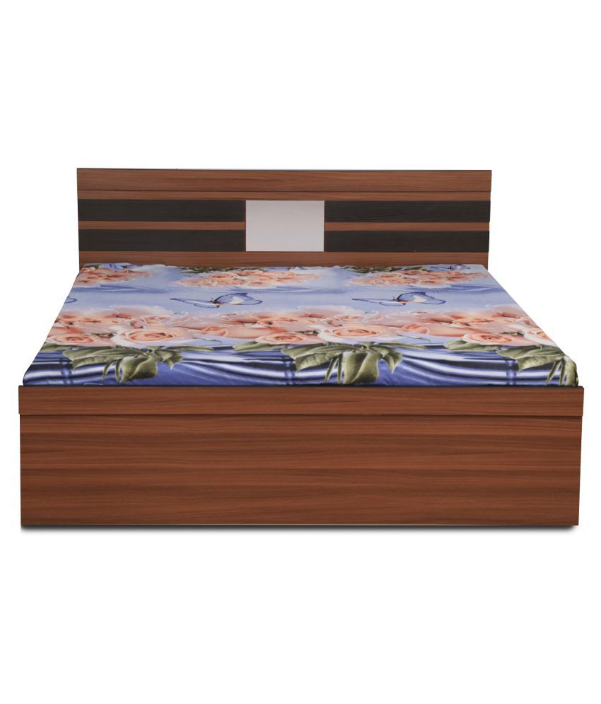 sparrow queen size bed without box storage in classic walnut with