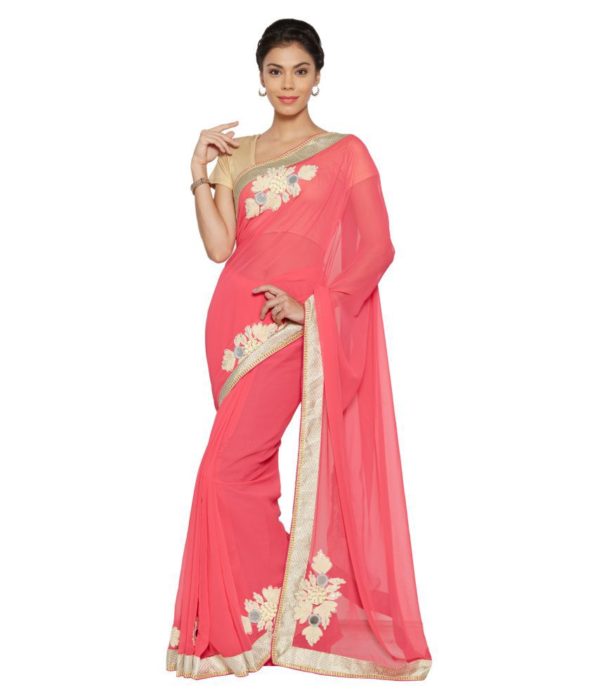 The Ethnic Chic Pink Georgette Saree