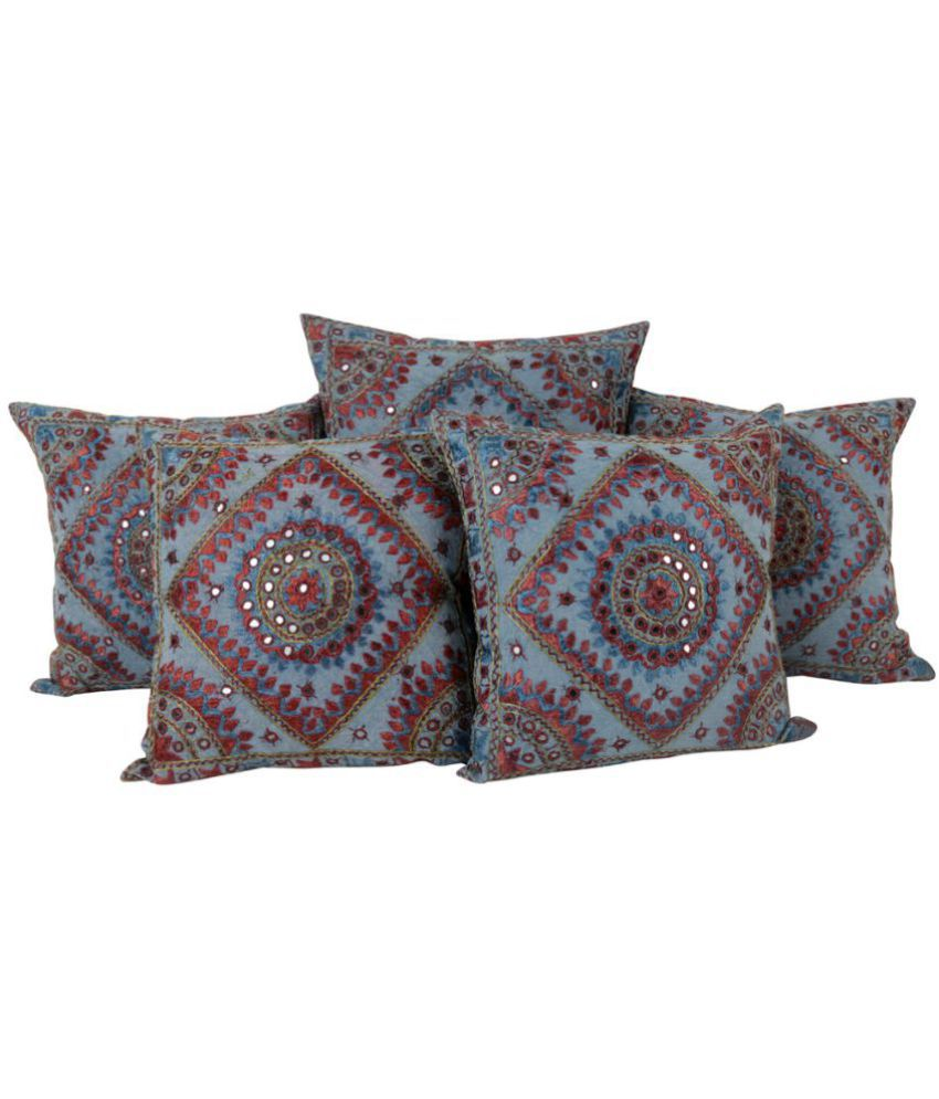 Rajrang Set of 5 Cotton Cushion Covers 40X40 cm (16X16)