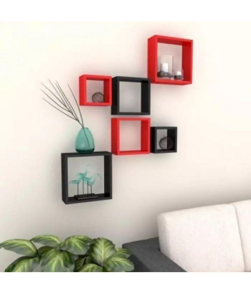 Onlineshoppee Floating Shelf/ Wall Shelf / Storage Shelf/ Decoration Shelf Multicolour - Pack of 6