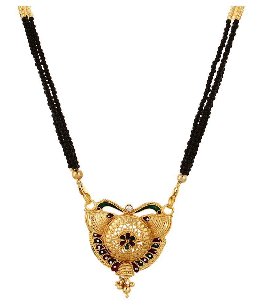 Enamel Collection Bollywood Style Gold Plated Managalsutra Tanmania Indian Necklace for Women