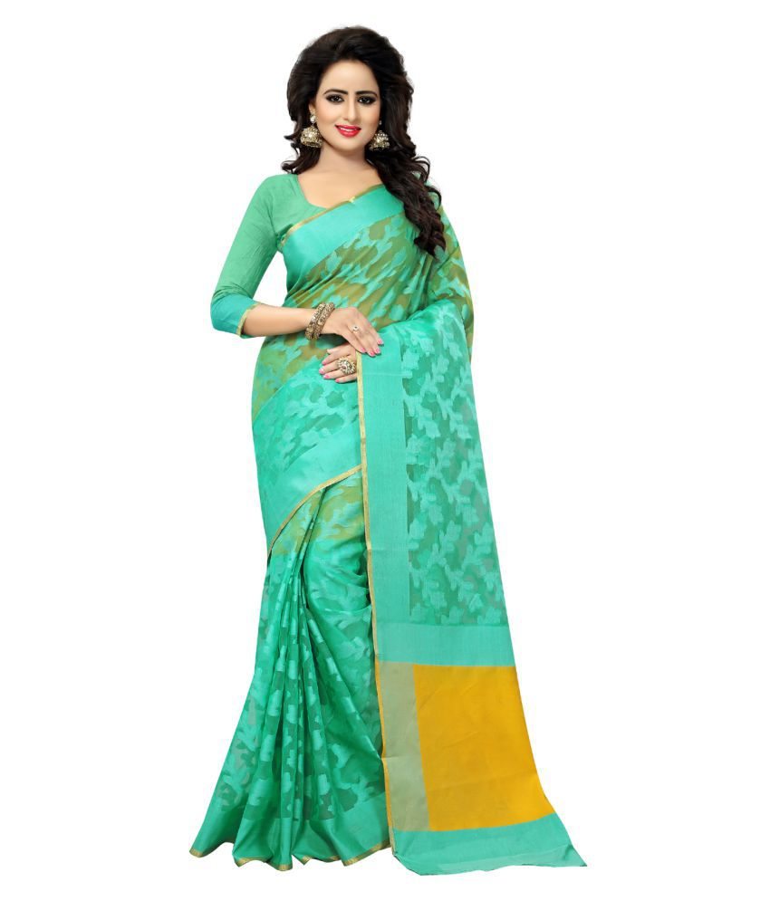 KAD Creations Green Banarasi Silk Saree