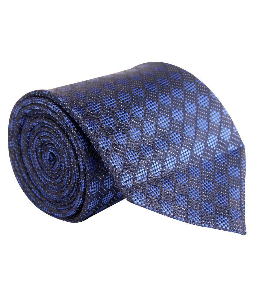 zido Blue Abstract Satin Necktie