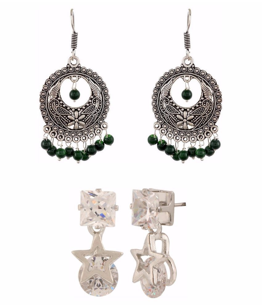 Archi Collection Jewellery Combo Designer Fancy Party Wear Oxidised Silver Earrings & Dangler Earrings for Girls and Women
